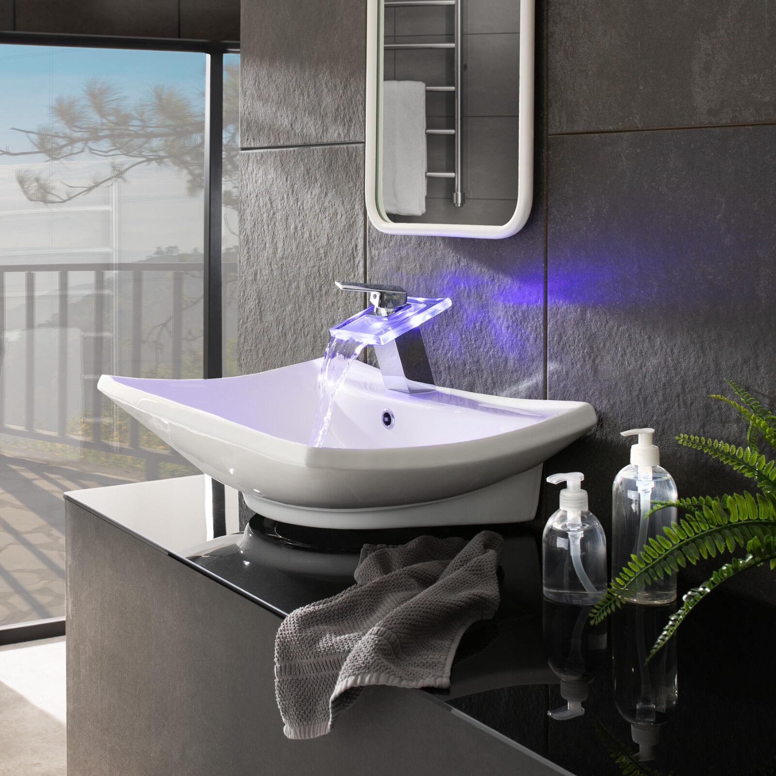 Rubinetto LED lavabo cascata bagno miscelatore ottone cromato lavabo LED 3 Coloreeei vetro a1be17
