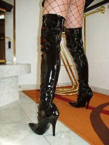 8de853e8f0b761 Das Bild wird geladen Lack-Stiletto-High-Heels-Stiefel-Overknee-Schwarz-46-