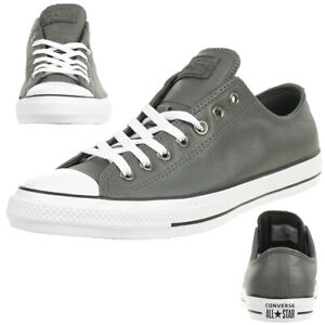 Details about Converse Ctas Ox Chuck Leather Trainers Shoes Carbon Grey 165193C