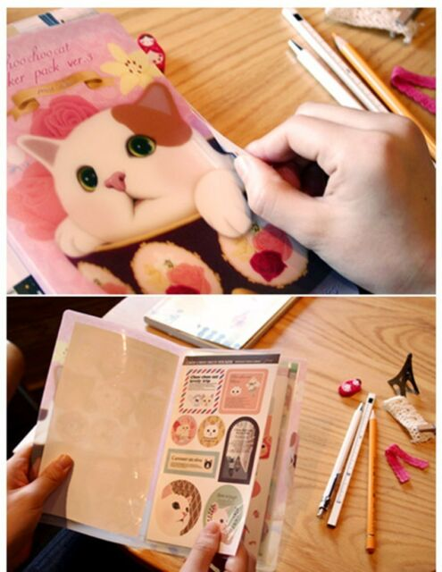 8 sheets cat red cover photo album books diary  Notebook calendar stickers