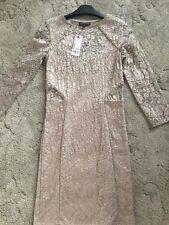 Warehouse Women's Size 8 Cream Gold Lace Body Con Dress Longsleeve Bnwt