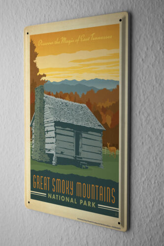 Tin Sign World Tour Great Smoky Mountains Metal Plate