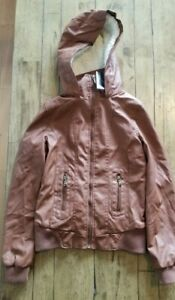 NWT | SMALL | New Look Women's Leather Fur Hooded Coat Bomber Jacket Size S