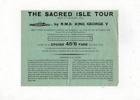 """THE SACRED ISLE TOUR by RMS """"King George V"""" 1968 information sheet (C20539)"""