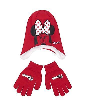 Navy Disney Minnie Mouse Hat Scarf Gloves Set Girls Winter Kids 54cm