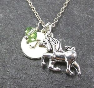 05714bcc98210 Details about Custom Unicorn Necklace Personalized Initial with Swarovski  Birthstone Crystal
