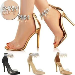 Womens Ladies Barely There Rose Gold High Heels Gem Ankle Strap ...