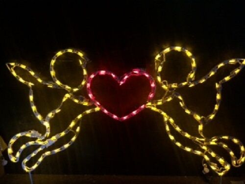 Valentine's Day Day Day Cupid with Heart Holiday LED Lighted Decoration Steel Wireframe 1c7cd9
