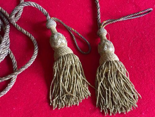 Antique Gold Metallic Drapery Tassel Drapes Cord Trim 19th c. Military Tieback