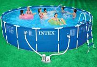 Intex 18' X 48 Metal Frame Swimming Pool Set & 1500 Gph Filter Pump   56951eg on sale