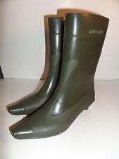 Miu Miu Rubber Wellies Stylish Rain Boots with Heel Slip on 38 7.5
