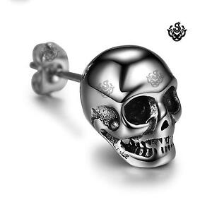 Silver-stud-solid-stainless-steel-skull-SINGLE-earring-shinning-head-soft-Gothic