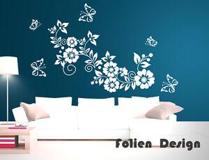 Wandtattoo  Ranke Blumen Blumenranke Wandaufkleber walltattoo wall sticker wpf44