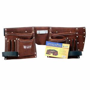 10-Pocket-Leather-Builders-Suede-Apron-Work-Bag-Belt-Tool-Pouch-Holder-Pocket