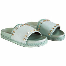 3aa2de57db1b Girls Ladies Womens Slip On Studded Sliders Flip Flop Sandals Flat Shoes  Size3-8