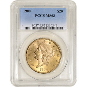 1900 US Gold $20 Liberty Head Double Eagle - PCGS MS63