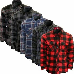 Mens Padded Shirt Quilted Lined Lumberjack Flannel Work Jacket Warm