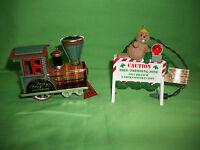 Ornaments 2 Tin Locomotive Under Construction Beaver Hallmark Collectors Series