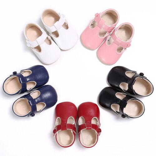 Toddler Newborn Baby Boy Girl Leather Soft Sole Crib Shoes Prewalker Gifts 8754