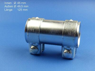 1 St Auspuff Universal Rohrverbinder 76 x 80,5 x 125mm Doppelschelle TOP Neu
