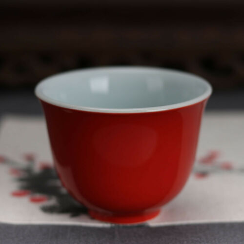 China antique Porcelain Ming xuande red glaze gongfu Wine Glass tea cup