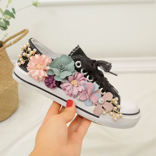 Womens Flower Decor Lace up Canvas Sneakers Round toe Low top Athleitcs Shoes SZ