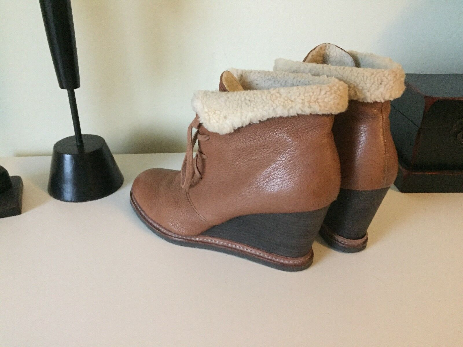 MARC O'POLO Keil-Stiefeletten hellbraun Booties Casual-Look Damen Gr. 40 Booties hellbraun Wedges cfdef7