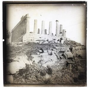 Italia Agrigento Archeologia Greco c1910 Placca Da Lente Foto Vintage n2