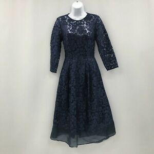 New-Ted-Baker-A-Line-Dress-Size-1-UK8-Midi-Length-Blue-Lace-Floral-Party-343020