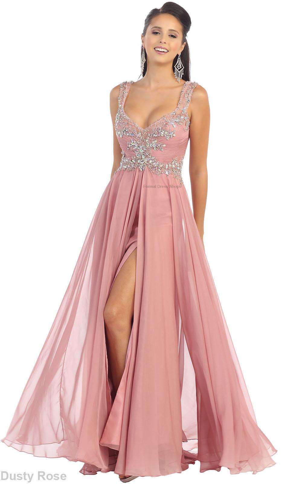 New Flowy Long Dress Formal Dance Party Classy Evening -8701