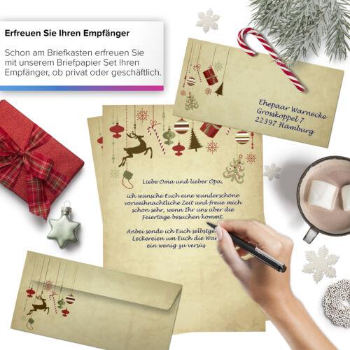 50 Blatt Weihnachtsbriefpapier im Set mit Umschlag Vintage Papier Weihnachten