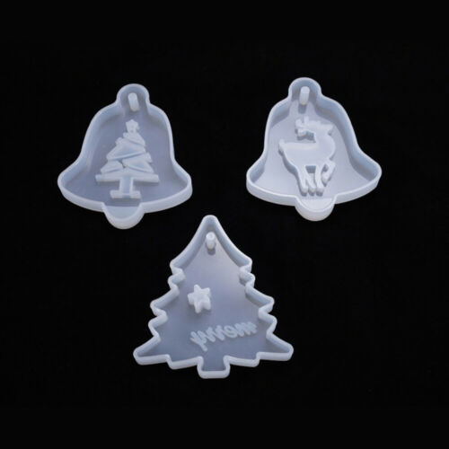 DIY Epoxy Resin Mold Christmas Tree Elk Hanging Pendant Casting Silicone Mould