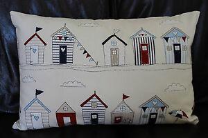 Cushion-cover-Handmade-Beach-huts-navy-red-beige-on-cream-Shabby-chic