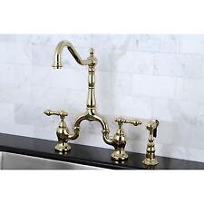 Victorian High Spout Polished Brass Bridge Double-handle Kitchen Faucet