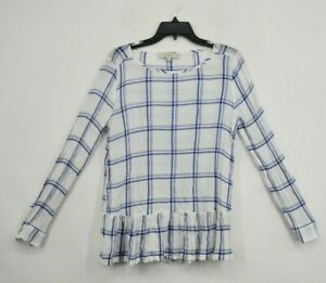 Ann-Taylor-Loft-Womens-White-Checkered-Print-Scoop-Neck-Shirt-Long-Sleeve-Size-M