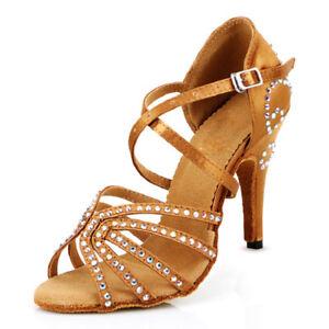e8298238f2 Womens Latin Dance Shoes Salsa 4'' High Heel Satin Ballroom Salsa ...