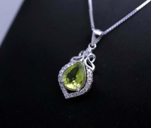 Details about  /Women/'s 1.5CT Pear Peridot /& CZ Dainty Teardrop Pendant 14K White Gold FN Silver