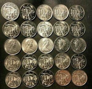 Antiguo-Australia-Moneda-Lote-25-Alta-Calidad-10-Centavo-Monedas