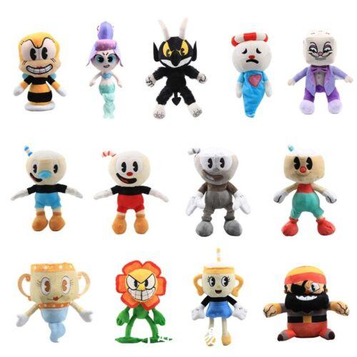 13x Game Cuphead Mugman Ghost Chalice Devil Boss King Dice Plush Figure Doll Toy