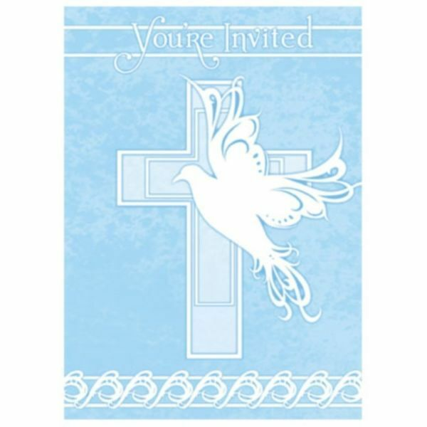 "CROSS TABLECOVER 43/"" X 70/"" PARTY BAPTISM BAUTIZO PLASTIC BLUE DOVE COMMUNION"