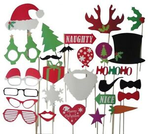 New-27pcs-Christmas-Santa-Hat-Party-Masks-Photo-Booth-Props-Mustache-On-A-Stick