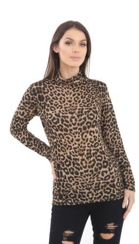 New Ladies Women Leopard Print Polo Neck T-Shirt Top Fashion Long Sleeve Shirt