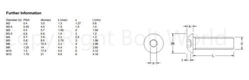cabeza cúpula Tornillos Allen Pernos ISO 7380 M2 M2,5 A2 Acero Inoxidable Socket botón