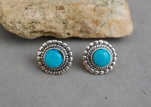 Zuni Inlay Sterling Button Clips 1 Diameter Free US Shipping 50s Turquoise Earrings