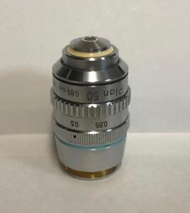 Nikon-Plan-50X-Microscope-Objective-Lens-160mm-With-Iris-Optiphot-Labophot