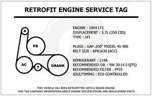 1994 lt1 5 7l camaro z28 retrofit engine service tag belt routing image is loading 1994 lt1 5 7l camaro z28 retrofit engine