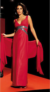 Abendkleid-mit-Schal-Laura-Scott-Rot-Gr-34-NEU-KP-149-99-SALE