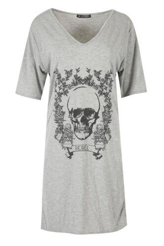 New Womens Ladies Halloween Skeleton Bones Heart Short Sleeve Mini T-Shirt Dress