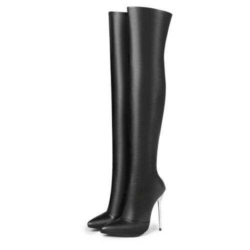 Women/'s Stilettos High Heels Over Knee Boots Patent Leather Pointed Toe Shoes