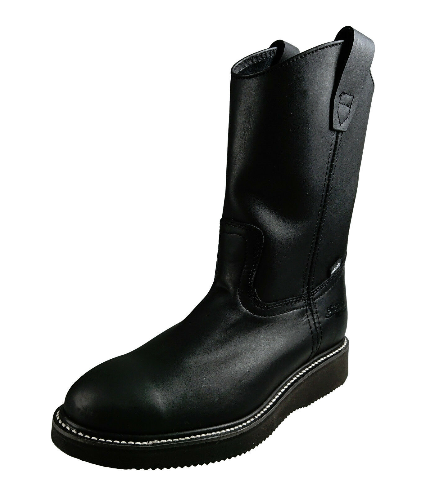 Men's Genuine Leather Work Boots Pull On Establo Western Cowboy Style 553 Black
